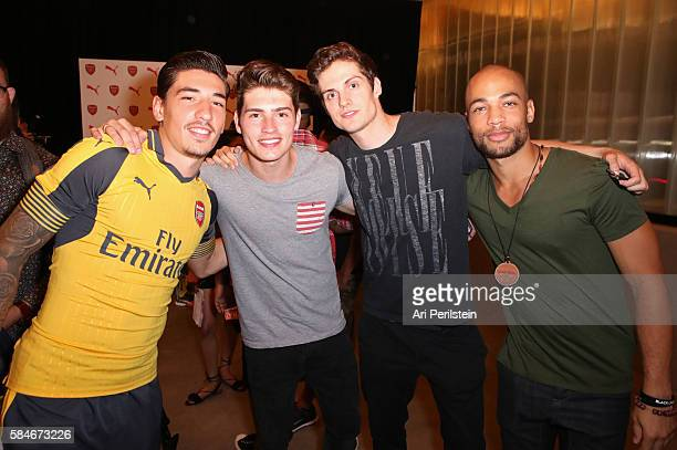 Soccer player Hector Bellerin actors Gregg Sulkin Daniel Sharman and Kendrick Sampson attend PUMA and Arsenal Football Club 2016/17 AFC Away Third...