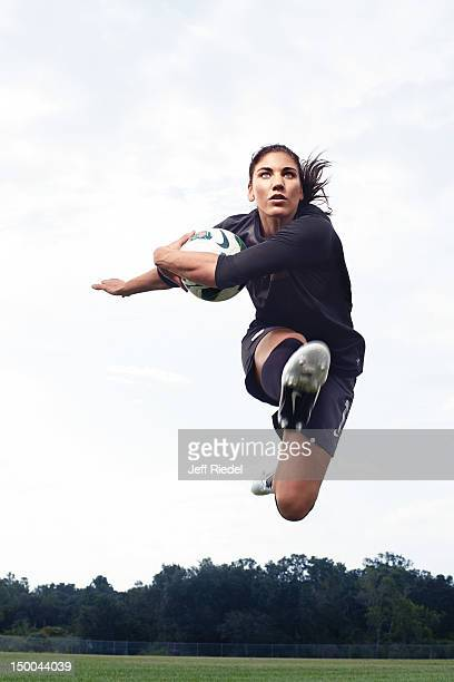 Soccer player Hope Solo is photogrpahed for Newsweek Magazine on July 7 2012 in New York City