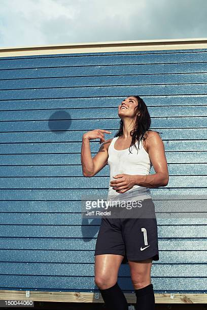 Soccer player Hope Solo is photogrpahed for Newsweek Magazine on July 7, 2012 in New York City.