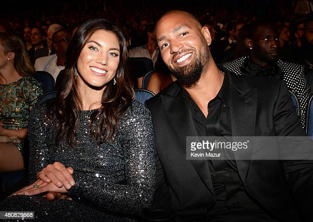 USWNT soccer player Hope Solo with husband NFL player Jerramy Stevens attends The 2015 ESPYS at Microsoft Theater on July 15 2015 in Los Angeles...