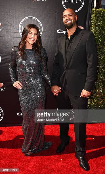 USWNT soccer player Hope Solo with NFL player Jerramy Stevens attends The 2015 ESPYS at Microsoft Theater on July 15 2015 in Los Angeles California