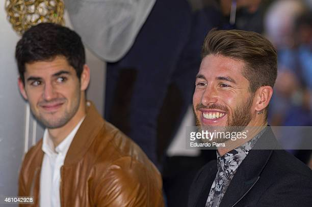 Soccer player Isco and soccer player Sergio Ramos attend 'Ningun Nino Sin Regalo' Campaign presentation at Estadio Santiago Bernabeu on January 5...