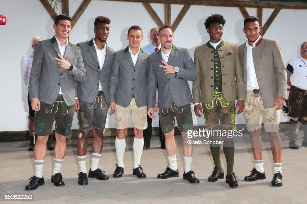 Soccer player James Rodriguez Coman Kingsley Rafinha Franck Ribery David Alaba Corentin Tolisso during the 'FC Bayern Wies'n' as part of the...