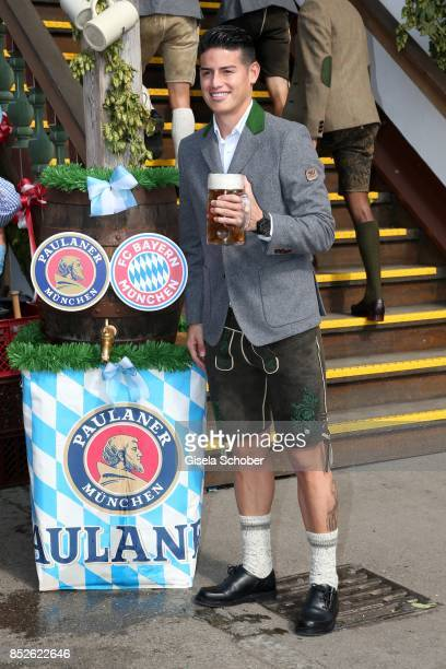 Soccer player James Rodriguez during the 'FC Bayern Wies'n' as part of the Oktoberfest at Theresienwiese on September 23 2017 in Munich Germany