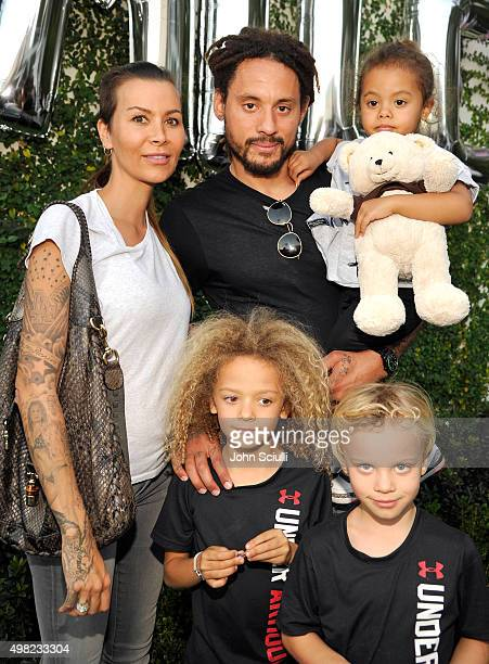 Soccer player Jermaine Jones , wife Sarah Jones and family attend the Petit Maison Chic fashion show honoring Operation Smile on November 21, 2015 in...