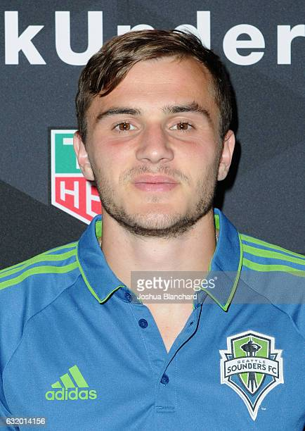 MLS soccer player Jordan Morris attends MLS Media Week Day 2 at Manhattan Beach Marriott on January 18 2017 in Manhattan Beach California