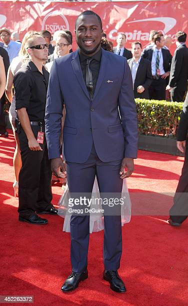 US soccer player Jozy Altidore arrives at the 2014 ESPY Awards at Nokia Theatre LA Live on July 16 2014 in Los Angeles California