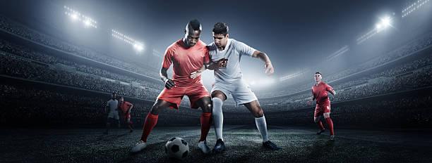Soccer Player Kicking Ball In Stadium Wall Art