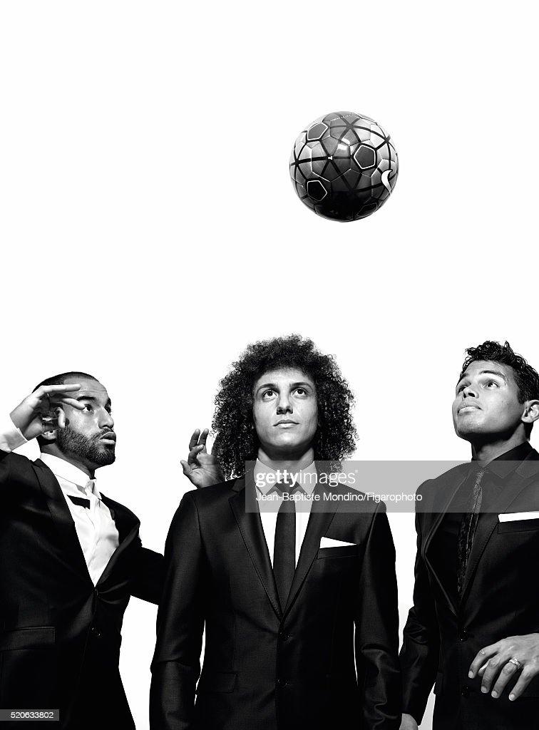 Lucas Moura, David Luiz and Thiago Silva, Madame Figaro, April 1, 2016