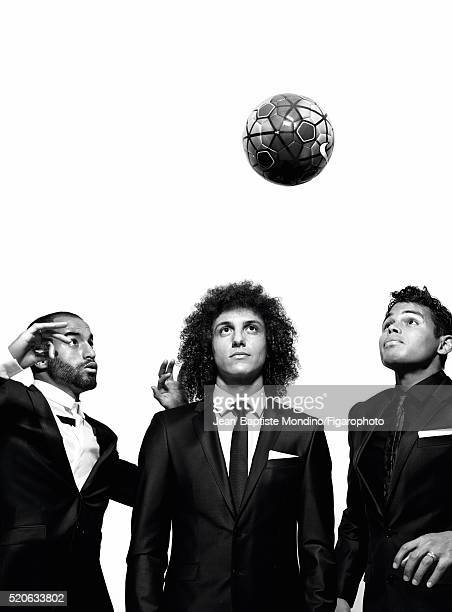 Soccer player Lucas Moura David Luiz and Thiago Silva are photographed for Madame Figaro on February 24 2016 in Paris France All clothing Soccer ball...