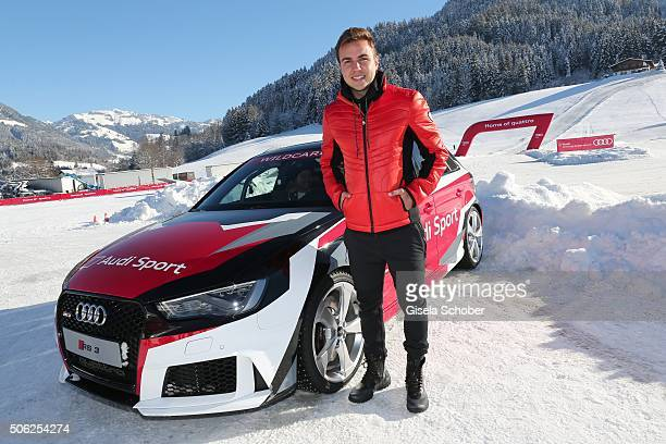 Soccer player Mario Goetze attends the Audi driving experience during the Audi Hahnenkamm race weekend on January 22 2016 in Kitzbuehel Austria