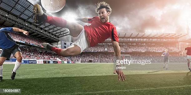 Soccer Player Mid Air Kick