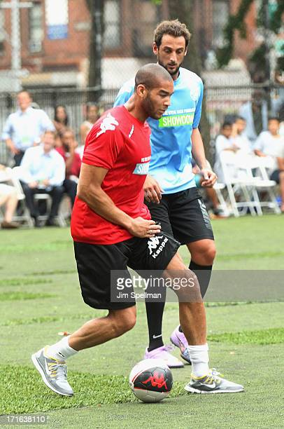 Soccer Player Oguchi Onyewu attends The Sixth Edition Steve Nash Foundation Showdown at Sarah D Roosevelt Park on June 26 2013 in New York City