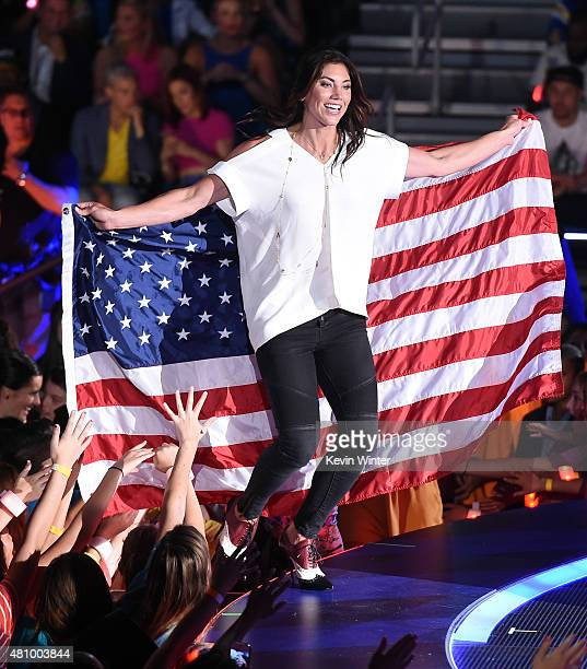 USWNT soccer player Olympian Hope Solo onstage at the Nickelodeon Kids' Choice Sports Awards 2015 at UCLA's Pauley Pavilion on July 16 2015 in...