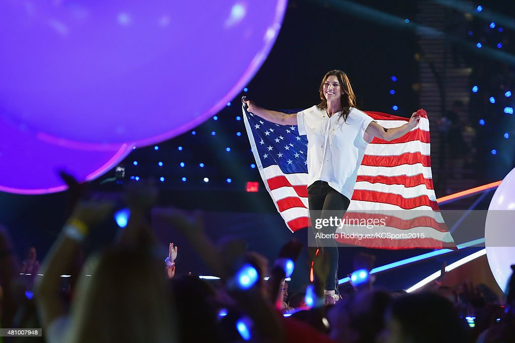 USWNT soccer player & Olympian Hope Solo onstage at the Nickelodeon Kids' Choice Sports Awards 2015 at UCLA's Pauley Pavilion on July 16, 2015 in Westwood, California.