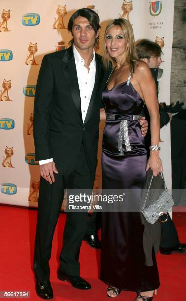 Soccer player Paolo Maldini with his wife Adriana Fossa attend the TV Sport Cinema And Music Italian Awards at the Auditorium on January 22 2006 in...