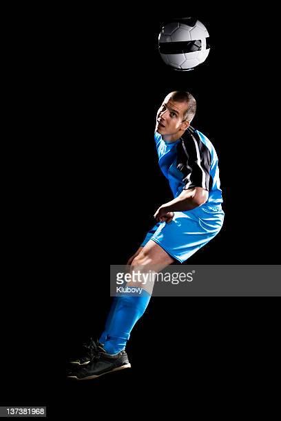 soccer player - kopfschuss stock-fotos und bilder