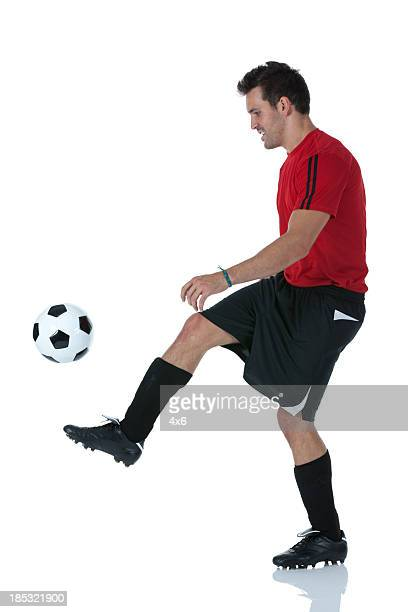 Soccer player practicing