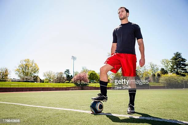 Soccer player preparing for free kick