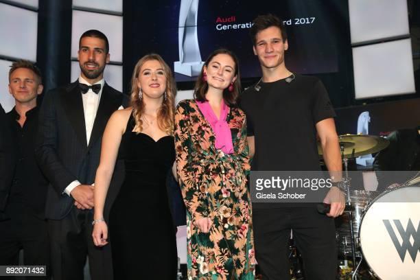Soccer player Sami Khedira GinaMaria Schumacher daughter of of Michael Schumacher Lea van Acken and Wincent Weiss during the Audi Generation Award...