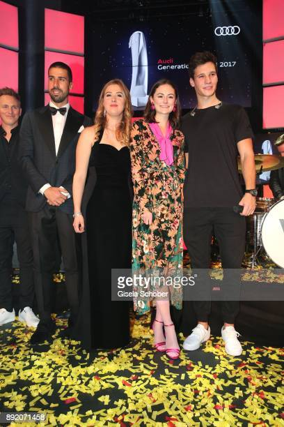Soccer player Sami Khedira GinaMaria Schumacher daughter of of Michael Schumacher Lea van Acken and Wincent Weiss during the Audi Generation Award...