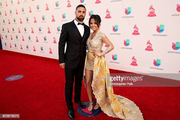 Soccer player Sebastian Lletget and recording artist Becky G attend The 17th Annual Latin Grammy Awards at TMobile Arena on November 17 2016 in Las...