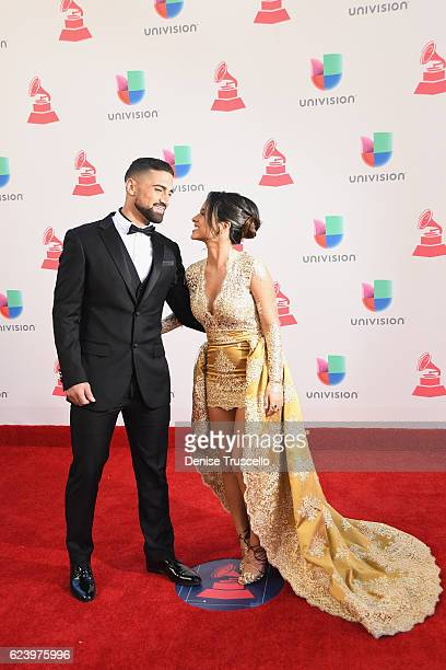 Soccer player Sebastian Lletget and recording artist Becky G attends The 17th Annual Latin Grammy Awards at TMobile Arena on November 17 2016 in Las...
