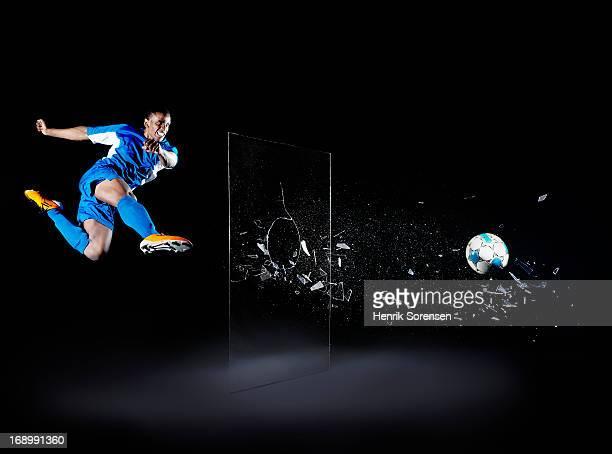 Soccer player shattering barrier