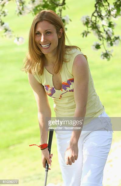 Soccer player Shelley Thompson smiles during the Puma meets Media Golf Event at the Golf Club Erlangen on May 8 2008 in Erlangen Germany