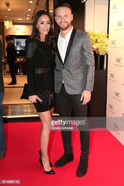 Soccer Player Shkodran Mustafi and his wife Vjosa Kaba during the IWC Schaffhausen boutique opening on October 13, 2016 in Frankfurt am Main, Germany.