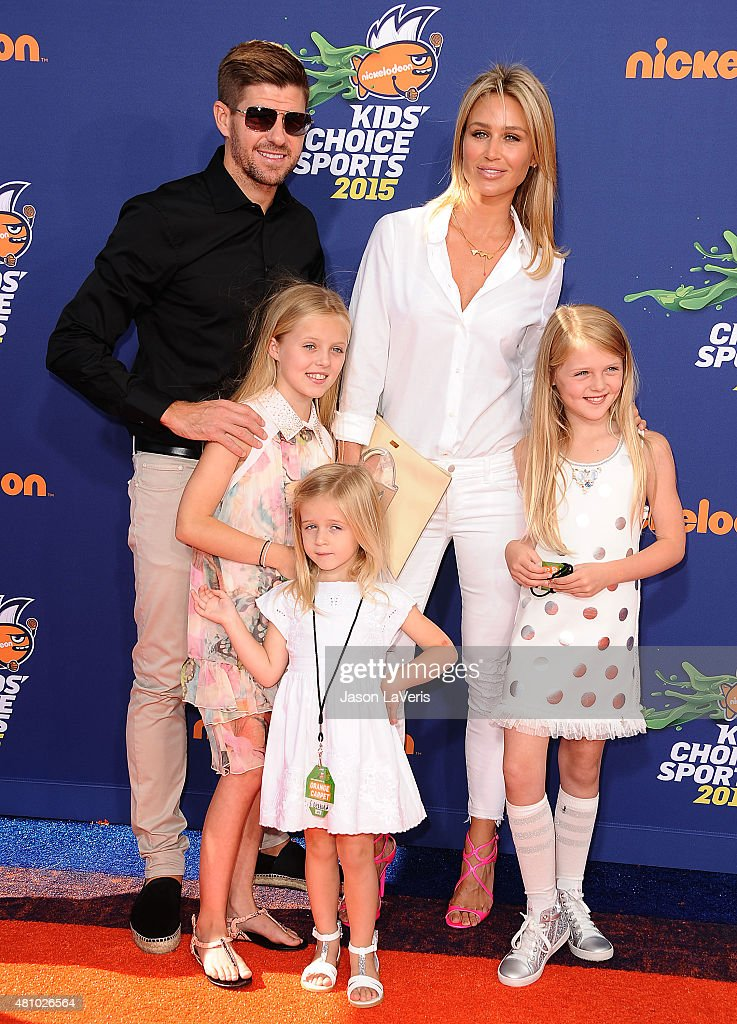 Soccer player Steven Gerrard, wife Alex Gerrard and daughters Lilly-Ella Gerrard, Lexie Gerrard and Lourdes Gerrard attend the Nickelodeon Kids' Choice Sports Awards at UCLA's Pauley Pavilion on July 16, 2015 in Westwood, California.