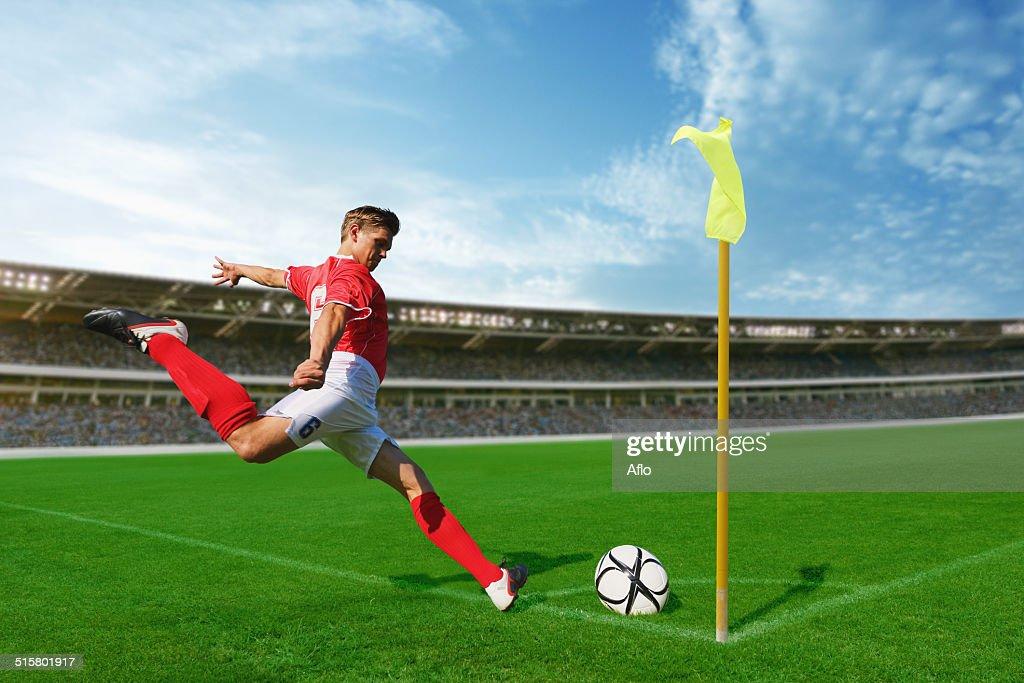 Soccer Player Taking Corner Kick : Foto de stock