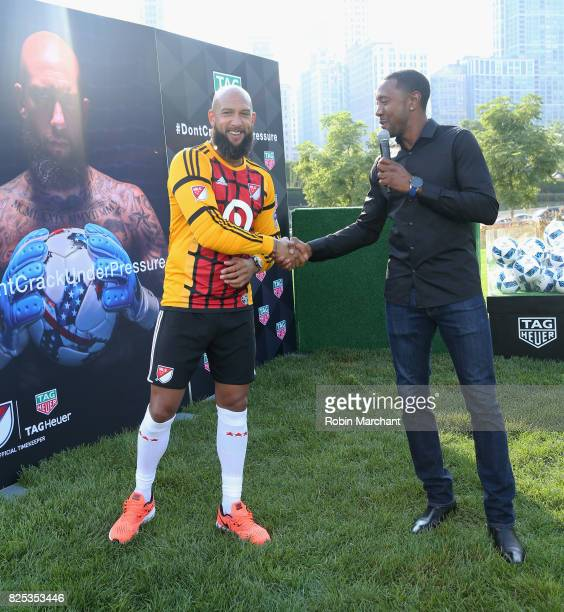 Soccer player Tim Howard and Cory Gibbs attend TAG Heuer Announces New Brand Ambassador on August 1 2017 in Chicago Illinois