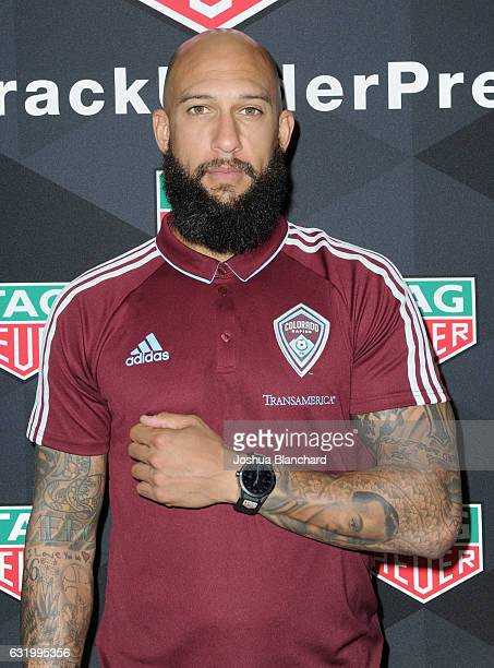 MLS soccer player Tim Howard attends MLS Media Week Day 2 at Manhattan Beach Marriott on January 18 2017 in Manhattan Beach California