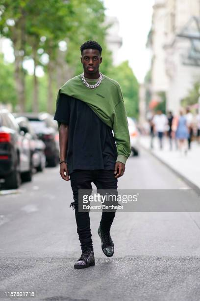 Soccer player Timothy Weah is seen outside VOS during Paris Fashion Week Menswear Spring/Summer 2020 on June 23 2019 in Paris France