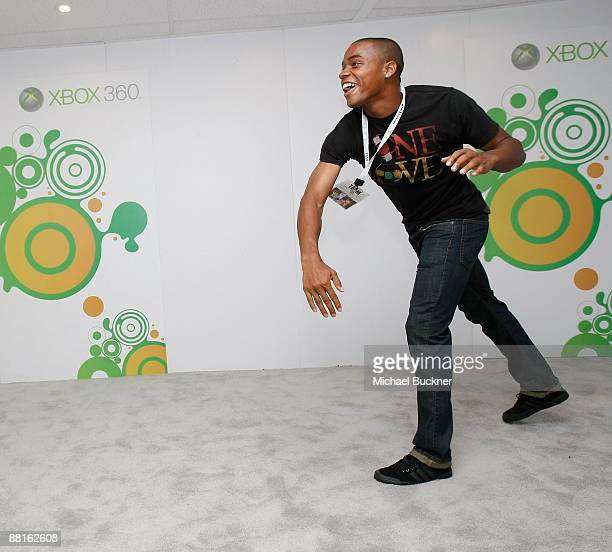 Soccer player Tristan Bowen plays Project Natal at the Xbox Booth during E3 at the Los Angeles Convention Center on June 2 2009 in Los Angeles...