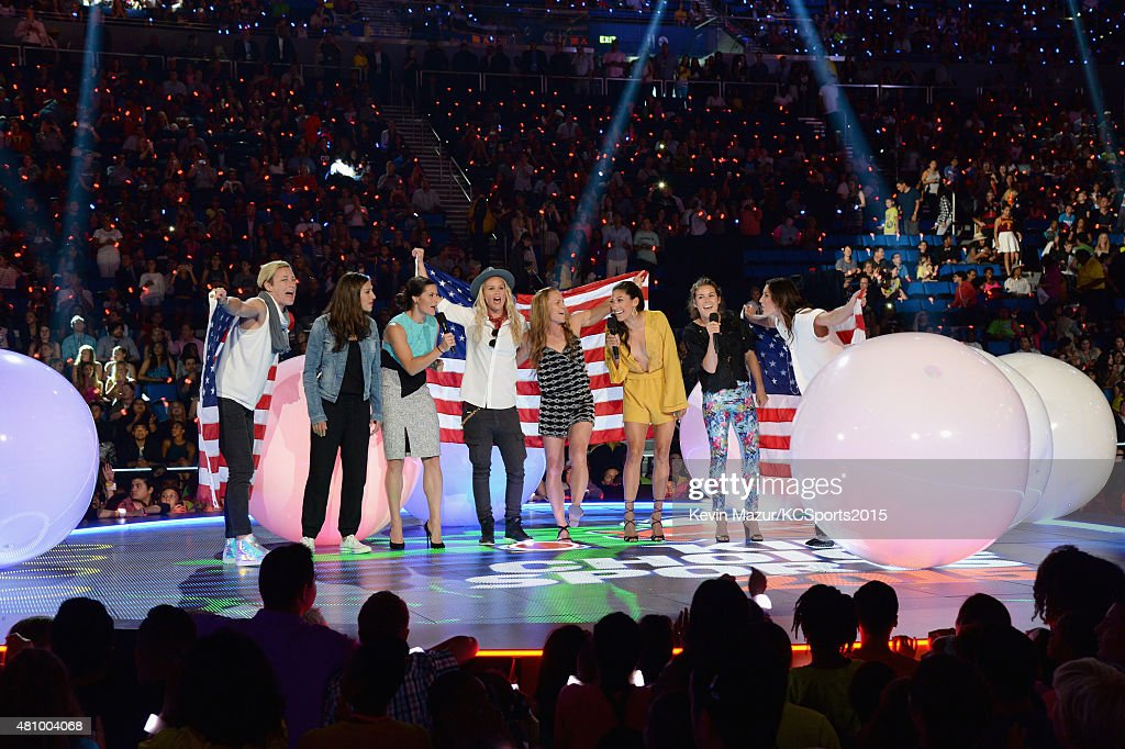 USWNT soccer players Abby Wambach, Carli Lloyd, Ali Krieger, Ashlyn Harris, Christie Rampone, Christen Press, Kelley O'Hara and Hope Solo speak onstage at the Nickelodeon Kids' Choice Sports Awards 2015 at UCLA's Pauley Pavilion on July 16, 2015 in Westwood, California.