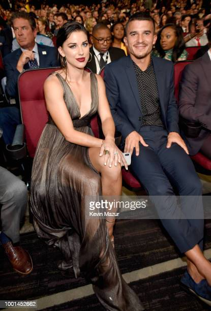 Soccer players Alex Morgan and Servando Carrasco attend The 2018 ESPYS at Microsoft Theater on July 18 2018 in Los Angeles California