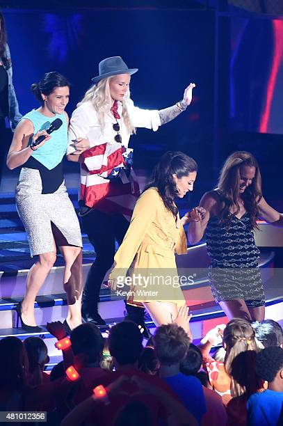 USWNT soccer players Ali Krieger Ashlyn Harris and Christie Rampone speak onstage at the Nickelodeon Kids' Choice Sports Awards 2015 at UCLA's Pauley...