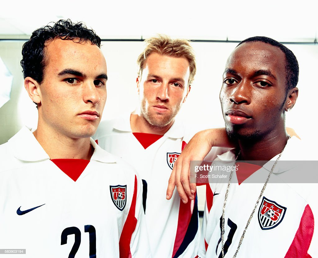 Landon Donovan, Clint Mathis, and DaMarcus Beasley) are photographed for ESPN - The Magazine in 2002.