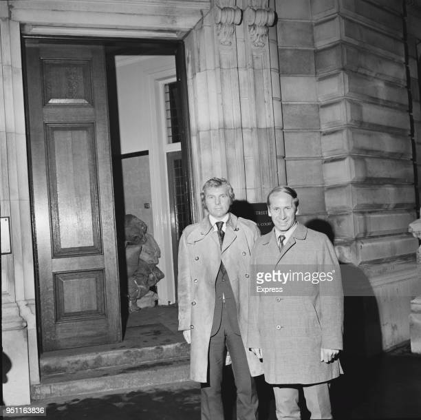 Soccer players Bobby Moore and Bobby Charlton at Bow Street Magistrates Court after attending an hearing regarding the 'Bogotá Bracelet' case London...