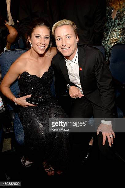 USWNT soccer players Carli Lloyd and Abby Wambach attends The 2015 ESPYS at Microsoft Theater on July 15 2015 in Los Angeles California