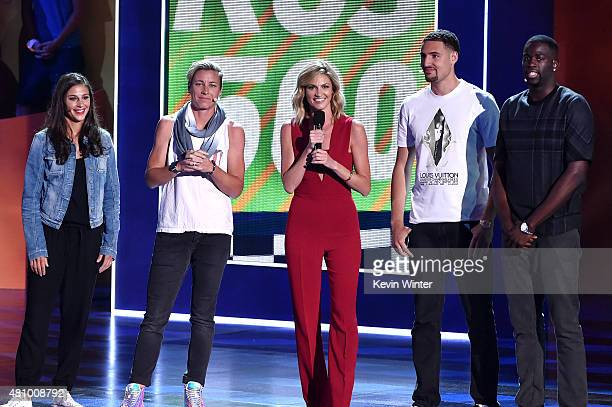USWNT soccer players Carli Lloyd and Abby Wambach tv personality Erin Andrews and NBA players Klay Thompson and Draymond Green speak onstage at the...