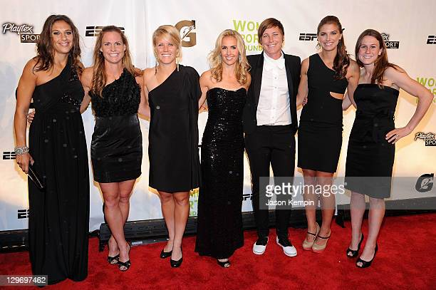 Soccer players Carli Lloyd Christie Rampone Lori Lindsey Heather Mitts Abby Wambach Alex Morgan and Heather O'Reilly attend the 32nd Annual Salute To...
