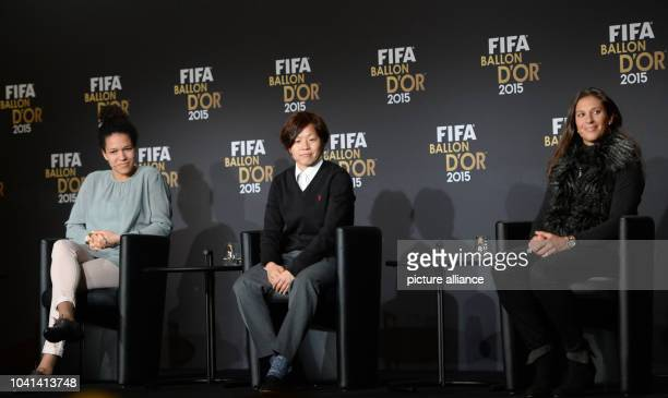 Soccer players Celia Sasic of Germany Aya Miyama of Japan and Carli Lloyd of the United States nominees for the FIFA Women's World Player of the Year...