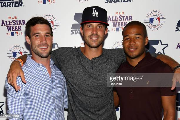 Soccer players Chris Pontius of DC United, Kyle Reynish of The Cosmos and Ethan White of DC United attend the Starter x MLB All-Star Launch Party at...