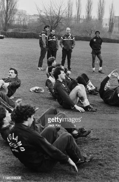 Soccer players from the England national football team training outdoors UK 26th February 1985