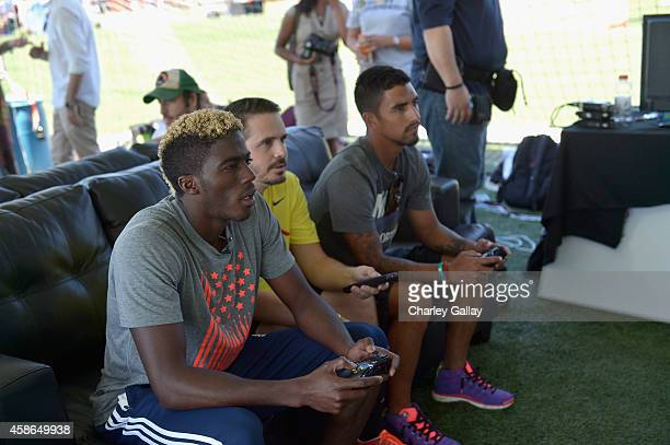 Soccer players Gyasi Zardes and AJ DeLaGarza of the LA Galaxy attend LAFEST the 2nd Annual LA Film Entertainment Soccer Tournament at StubHub Center...
