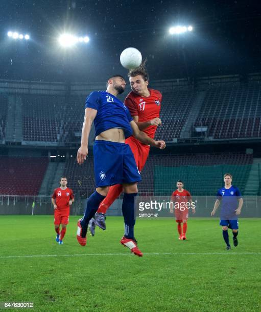soccer players heading - audience free event stock pictures, royalty-free photos & images