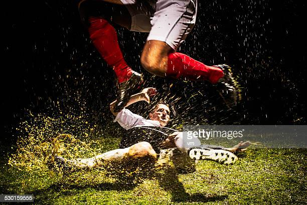 soccer players in action - defender soccer player stock photos and pictures